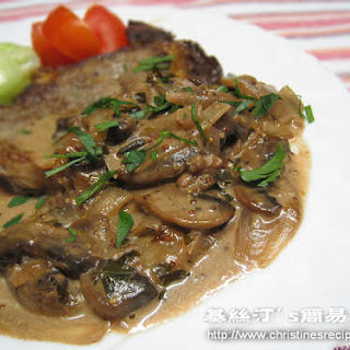 Beef Fillet with Mushroom and Red Wine Sauce.
