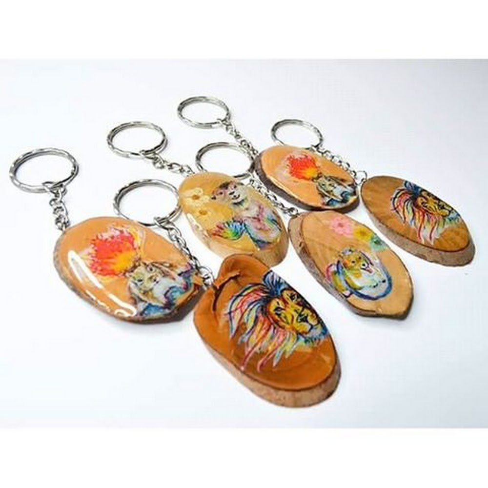 Toffee Illustration Wooden Keychain