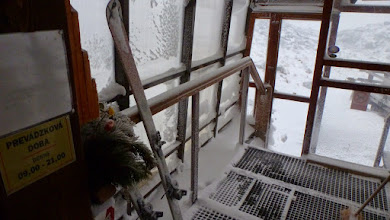 Photo: The high wind and snow entered the porch and covered our skis.