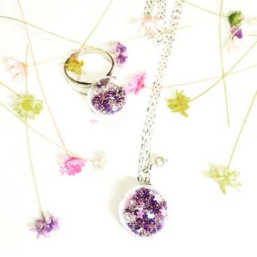 紫色珠珠玻璃球套裝