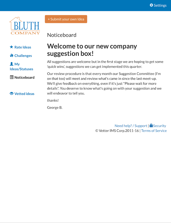 Vetter Employee Suggestion Box- screenshot