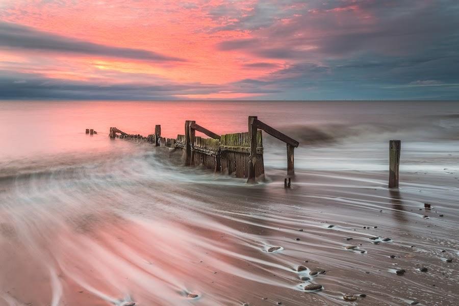 Backwash by Phil Green - Landscapes Waterscapes ( hornsea, seascape, sunrise, east yorkshire, wave,  )