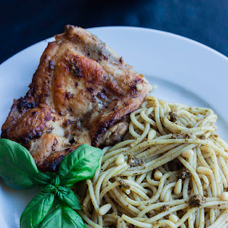 Pasta with Pesto and Fried Chicken