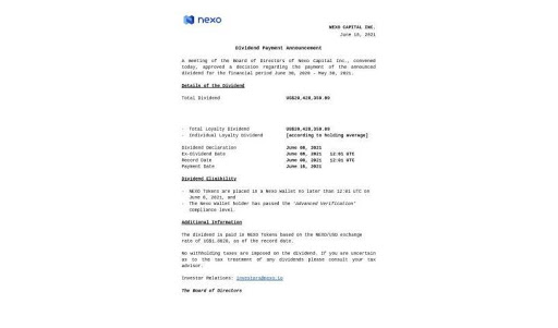Official Dividend Announcement - Nexo Board of Directors.