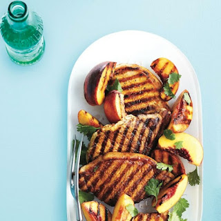 Honey-lime Grilled Pork Chops With Peaches.