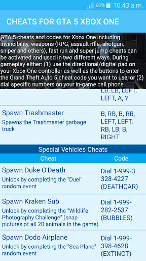 Cheats for GTA 5 - Unofficial 1.0 screenshots 6