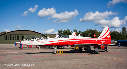 Photo: 7 Patrouille Suisse Northrop F-5E Tiger II's parked on the tarmac at Rygge Air Show 2009