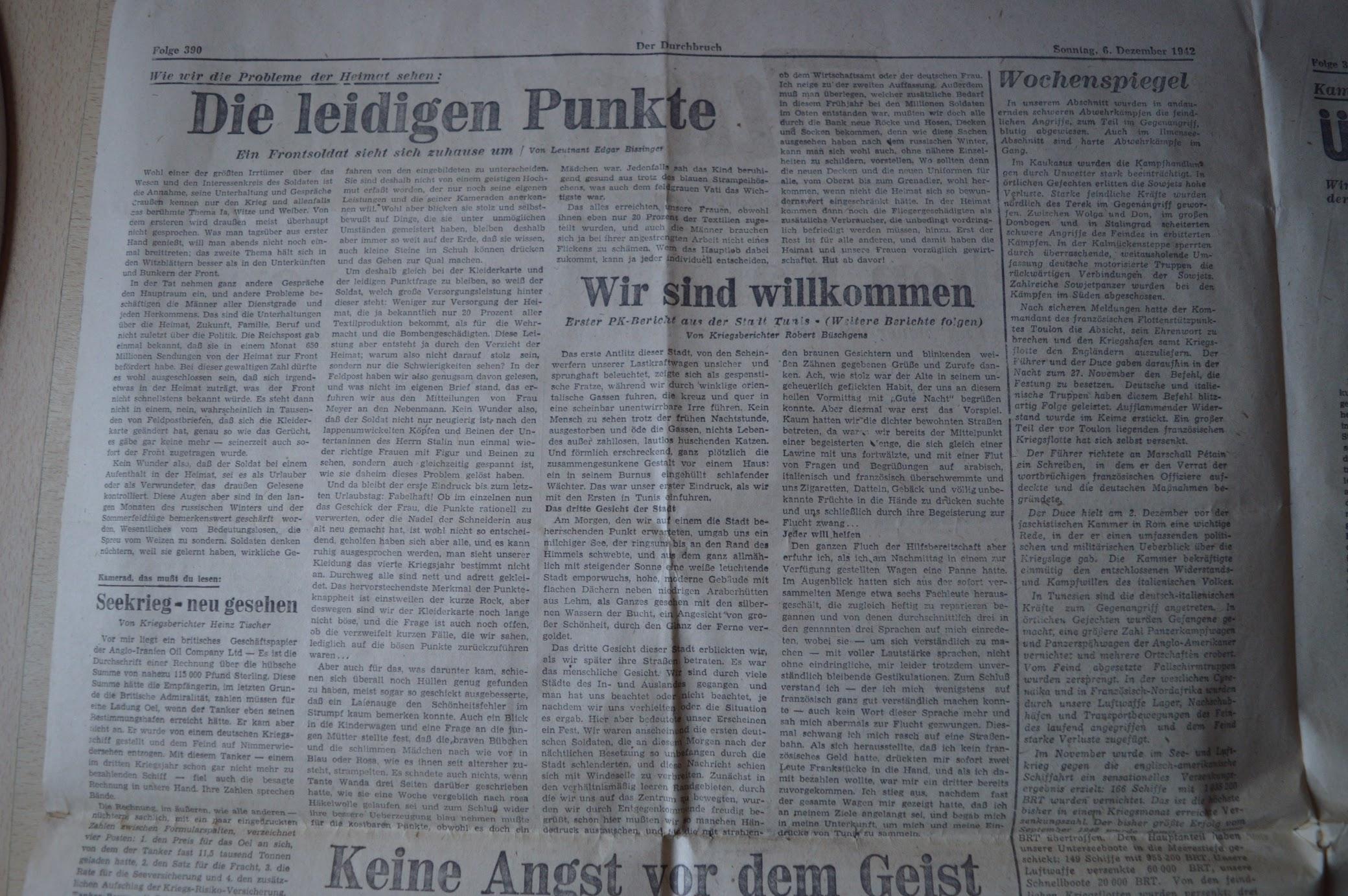 Soldatenzeitung an der Ostfront, Der Durchbruch, 6.12.1942
