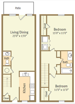 Go to Two Bed, Two Bath B Spicewood Floorplan page.