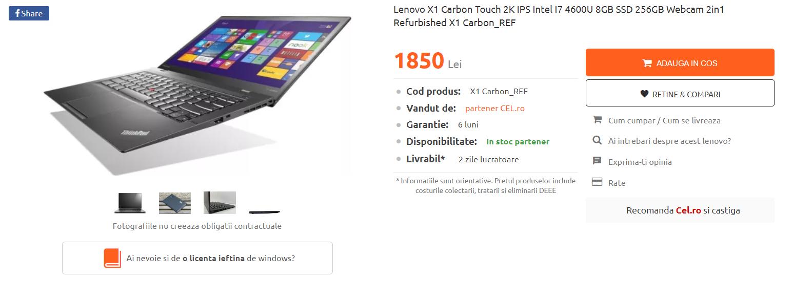 Pagina de vanzare a unui laptop cu un CTA de achizionare de licenta.