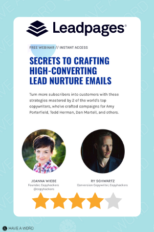 Leadpages Landing Page and Email Copywriting course review with Joanna Wiebe and Ry Schwartz