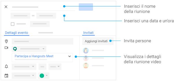 Creare eventi: assegnare un nome alla riunione, inserire data e ora, invitare i partecipanti e gestire i dettagli