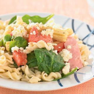 Pasta Salad with Ham and Corn.