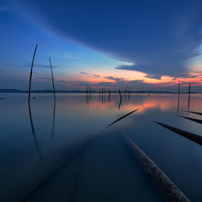 Lines by Partha Roy - Landscapes Travel ( morning glow, orange color, sky, pipe line, waterscape, blue hour, sunrise )