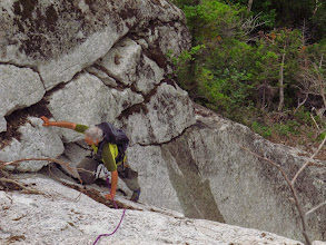 Photo: Phil about 70' up the dihedral. Photo by NP.