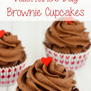 Valentine's Day Brownie Cupcakes.