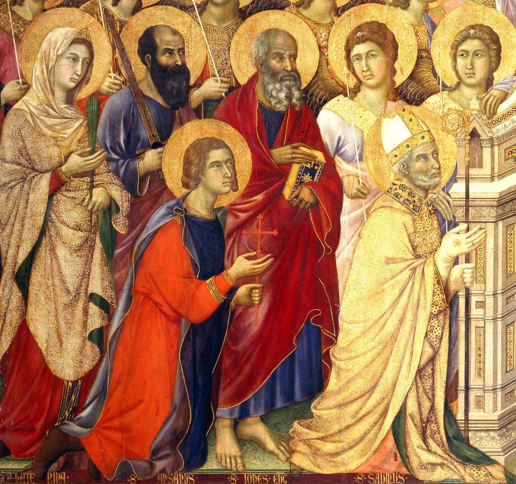 Duccio di Boninsegna, Maestà del Duomo di Siena (1308-1311), particolare della tavola principale - genoflessi (da sinistra): Sant'Ansano e San Savino, Patroni di Siena - in piedi (da sinistra): Santa Caterina d'Alessandria, San Paolo e San Giovanni Evangelista