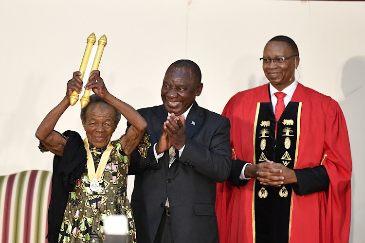 The Order of Ikhamanga in Silver is bestowed on actress Mary Twala by President Cyril Ramaphosa during the 2019 National Orders Awards on April 25, 2019 in Pretoria, South Africa.
