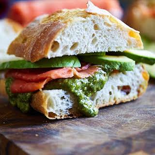Smoked Salmon Sandwich with Avocado and Pesto.