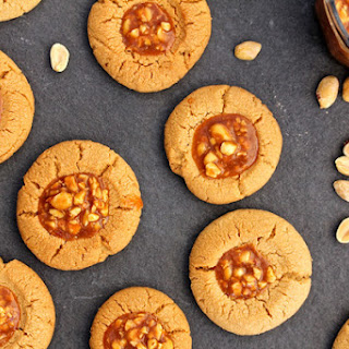 Peanut Butter Thumbprint Cookies with Salted Peanut Caramel.