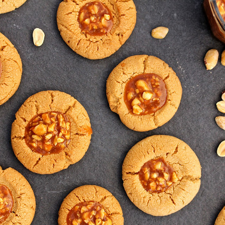 Peanut Butter Thumbprint Cookies with Salted Peanut Caramel