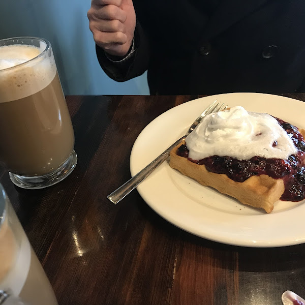 Mixed berry waffle and cinnamon sugar latte with soy milk