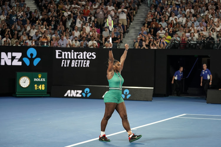 Serena Williams of the US celebrates winning match point in her fourth round match against Simona Halep of Romania during day eight of the 2019 Australian Open at Melbourne Park on January 21 2019 in Melbourne, Australia. Picture: FRED LEE/GETTY IMAGES