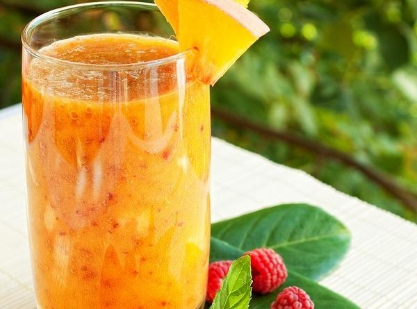 Blend all of the ingredients in a blender. Pour into glass and serve.