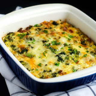 Broccoli, Kale & Sun Dried Tomato Quinoa Breakfast Casserole.