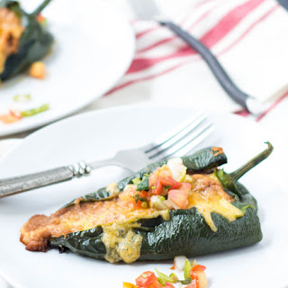 Roasted Bean and Cheese Stuffed Poblano Peppers.