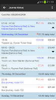 Screenshot of London Oyster Contactless
