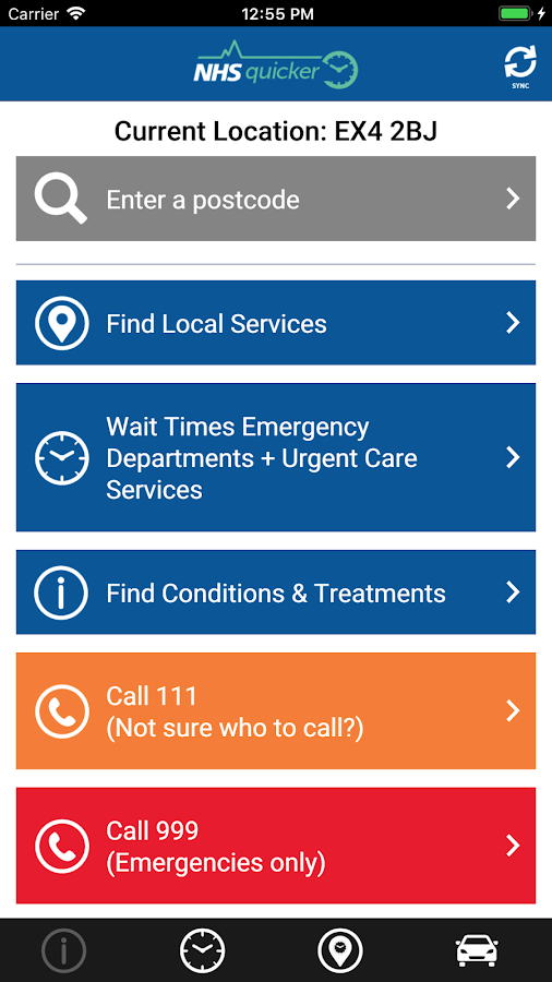 NHSquicker:  live wait times for Devon & Cornwall- screenshot