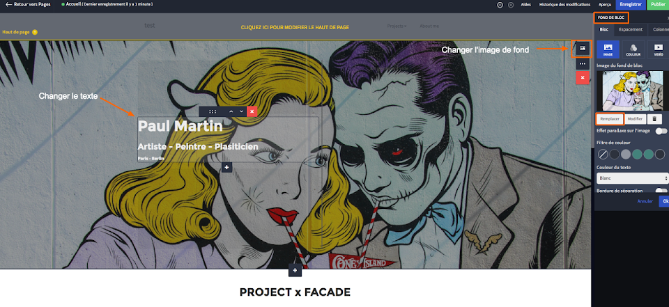 personnaliser mon site d'artiste