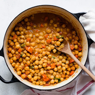 Curried Chickpeas with Mint and Cilantro Chutney.