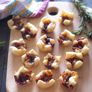 Puff Pastry Bites with Caramelized Onions and Gouda.