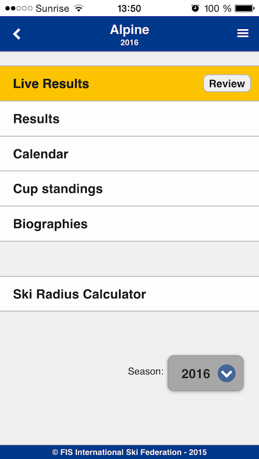 Fis-ski mobileLiveergebnisse – Screenshot