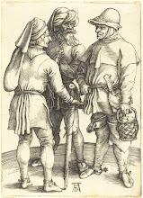 Photo: Albrecht Dürer (German, 1471 - 1528 ), Three Peasants in Conversation, c. 1497, engraving on laid paper, Rosenwald Collection