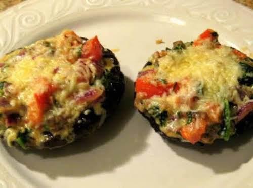 "Grilled Portobello Mushroom topped with Tarragon-Accented Veggies ""This tastes so gourmet! It..."