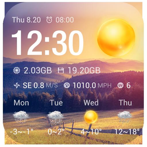 Clock & Weather Widget - Sunny