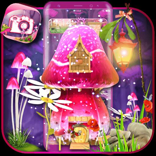 3D Pink Fantasy  mushroom Theme