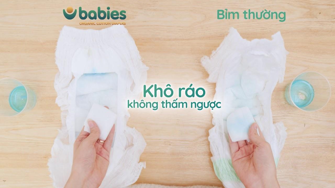Tốc độ thấm hút vượt trội của Babies Organic đã được kiểm nghiệm.