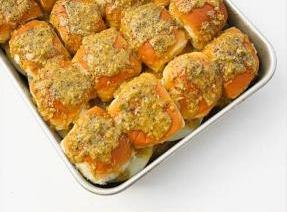 TOPPING: Mix all ingredients together and spread on each bun roll.Bake at 400F for...