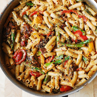 Pasta, Bell Peppers, and Asparagus in a Creamy Sun-Dried Tomato Sauce