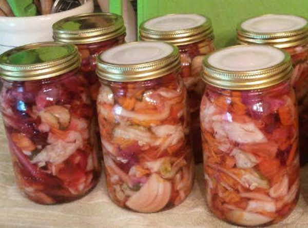 Cin's Pickled Cabbage & Veggies Recipe