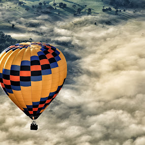 Above the Clouds by Susan Marshall - Landscapes Cloud Formations ( clouds, hot air balloon, landscape, balloon,  )