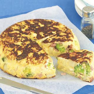 Broccoli, Cauliflower and Bacon Frittata.