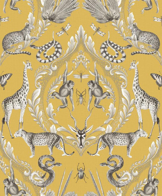 Galerie Bazaar G78315 Tapet med exotiska djur, Gul