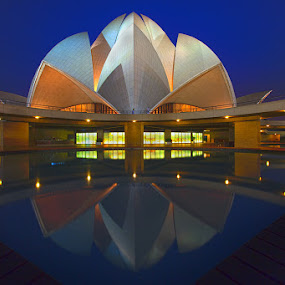 Bahai's House of Worship by Jasminder Oberoi - Buildings & Architecture Other Exteriors ( bahai's house of worship, reflection, lotus temple, blue hour, bahai's temple, new delhi, india, monument, architecture )