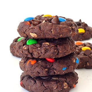 Chunky Chocolate M&M Monster Cookies