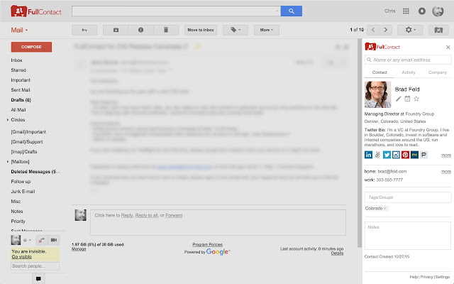 FullContact for Gmail™ Screenshot